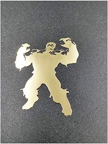 Wallner 18K Gold Plated 2 pcs Metal Adhesive The Avengers Hulk Badge Chrome Decal Logo Vinyl Sticker Cellphone Laptop case car Decal Stickers (Gold, A1)