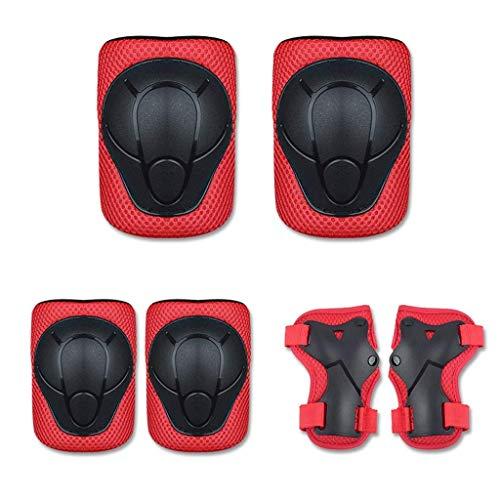 8bayfa Veiligheid Bescherming 6 In 1 Kinderen Beschermende Gear Set,Geschikt voor 3 ~ 7 Jaar Oude Kniebeschermers Set voor Kinderen/Volwassenen Rolschaatsen Fietsen Skateboard Inline Skatings Scooter Riding Sport Unisex
