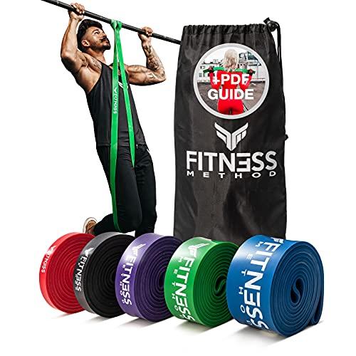 Fitness Method® Resistance Bands - Innovative Widerstandsbänder Set/Einzeln inkl. Tasche + Übungsanleitung-Krafttraining und Home Gym-Pull up Band