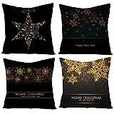 BDHBB Decorazioni di Natale tiro Cuscino Covers, Set di 4, Stampaggio Stampa Piazze Fiocchi di Cotone Lino, Rivestimenti Square Divano E Sofa 18X18 Pollici