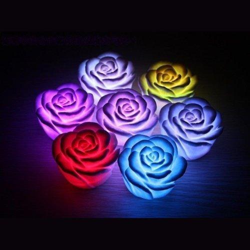 Dcolor 7 Color Luz de Noche LED Cambiante Flor Rosa Flotante