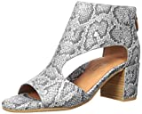 Gentle Souls by Kenneth Cole Women's Charlene Peep Toe T-Strap Heeled Sandal, Pewter Embossed, 9 M US