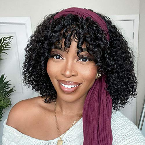 Nadula Headband Wig with Detachable Bangs Short Bob Curly 10A Brazilian Human Hair 150% Density 2 In 1 Glueless Protective Hairstyle Wig for Black Women Natural Color 14 Inch