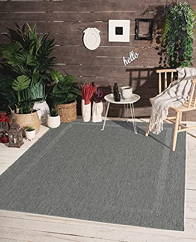 the carpet Mistra binnen- en buitentapijt, plat weefsel, modern design, trendy kleuren, supervlak, UV- en weerbestendig, rand, antraciet, 140 x 200 cm