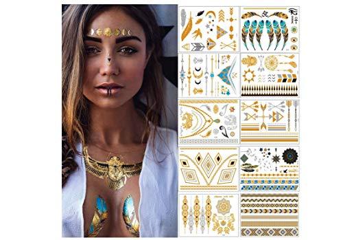 enogoods Tätowierung Wasserdicht Metallic Temporäre Tattoo 10 sheets in Gold Silber Aufkleber Körper Gefälschte Schmuck Tattoos Über 200 Designs für Frauen Jugendliche Mädchen Body Art