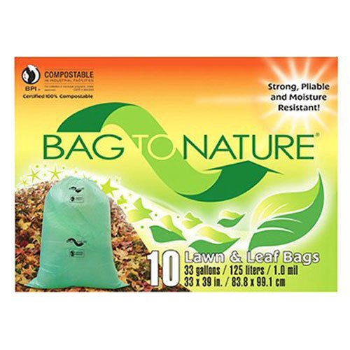 """Indaco Manufacturing 33x39 """"bag-to-nature"""" Compostable And Biodegradable Lawn Bag 10 count"""