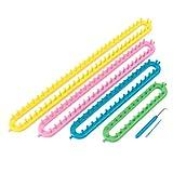ounona tejer telares largo telar herramienta de bricolaje de ganchillo de plástico para calcetines de bufanda gorro de chal para niños y adultos 4piezas
