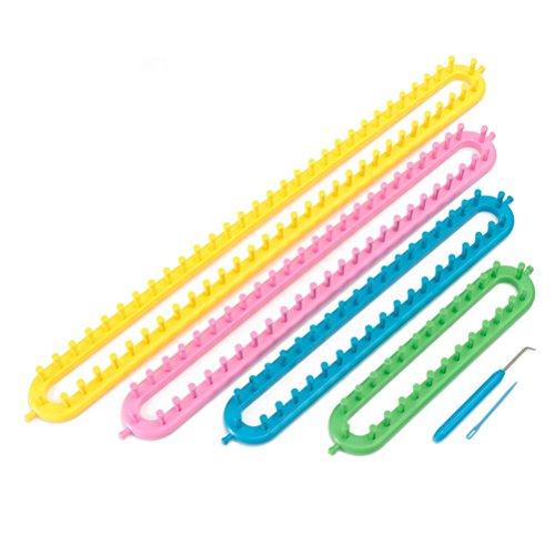 OUNONA Strickringe Kunststoff Lang Loom DIY Crochet Werkzeug f¨¹r Schal hat Socken Kinder und Erwachsene 4