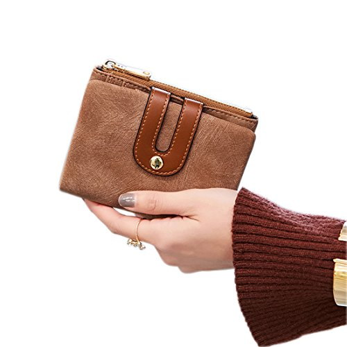 Women's RFID Small Bifold Leather Wallet Ladies Mini Zipper Coin Purse...