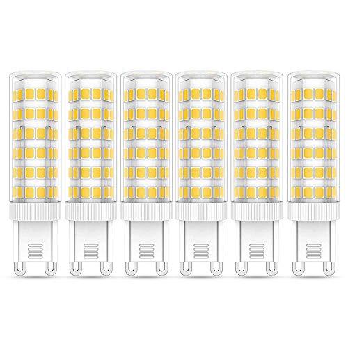 Ampoule G9 LED 7W Blanc Chaud 3000K, Équivalent Ampoule G9 60W Halogène, 600LM, G9 Culot AC 220-240V, Non-dimmable, Lampe G9 LED 7W pour Lustre Cristal Lampe de Chevet Plafonnier, lot de 6