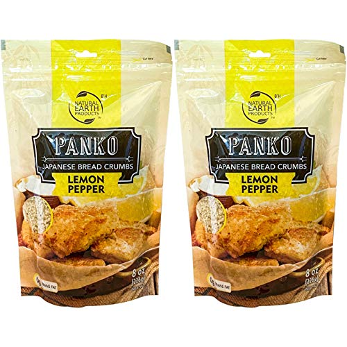 Lemon Pepper Panko - Japanese Bread Crumbs - Kosher - 8 Trans Fat - Made in the USA 8 ounces (2-Pack)