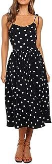 Kiyotoo Women's Summer Polka Dot Adjustable Strap Sleeveless Dresses Semi-Backless A-Line Beach Casual Flowy Midi Dress