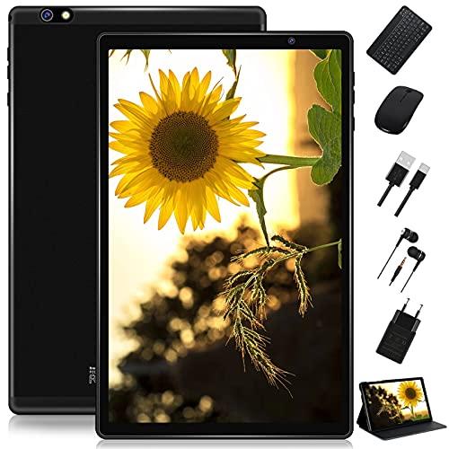 FACETEL Tablet 10 Pulgadas HD Android 10 Pro Tablet PC Octa-Core 1.6 GHz 4GB + 64GB (TF 128GB), Tableta con Teclado y Mouse, Google GMS, Cámara Dual, Bluetooth 4.0 | Hotspot Móvil | WiFi - Negro