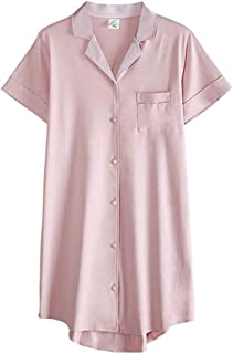 Modal Nightdress, Women's Summer Thin Shirt-Style Short Sleeves, Casual Home wear, Lapels, Buttons, Loose Cuffs, (Color : Pink, Size : S)