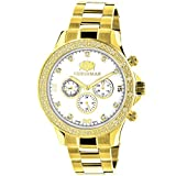 LUXURMAN Diamond Watches for Men 0.2ct Yellow Gold Plated White MOP Liberty