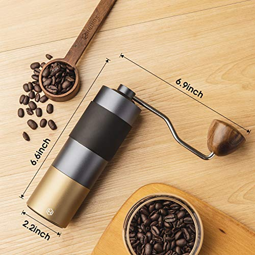 Manual Coffee Grinder - HEIHOX Hand Coffee Grinder with Adjustable Conical Stainless Steel Burr Mill, Capacity 30g Portable Mill Faster Grinding Efficiency Espresso to Coarse for Office, Home, Camping