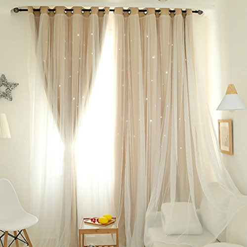 Everpertuk Hollow star Eyelet Blackout Curtains, Thermal Insulated Window Curtain Drapes Sheers, Double Layer Star Window Curtain for Kids Bedroom Living Room Home Decoration (2pcs Ivory)