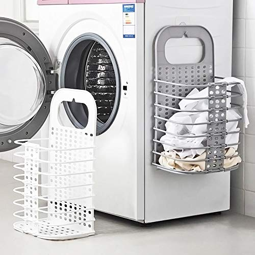 Sxqipeng 2Pack Laundry Basket Dirty Clothes Hamper Foldable Storage Basket Washing Machine Partner for Bathroom Storage Space Saving Wall Closet Behind DoorsWhite and Grey