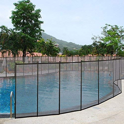 Giantex 4'X12' In-Ground Swimming Pool Fence Child Barrier Pool Safety Mesh Fence Section, Black