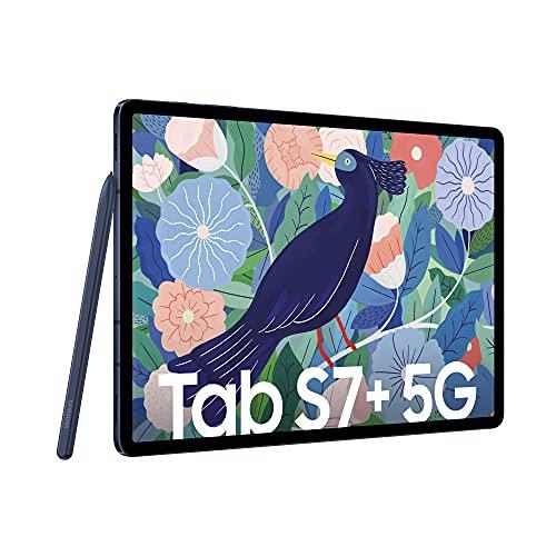 Samsung Galaxy Tab S7+, Android Tablet mit Stift, 5G, 3 Kameras, großer 10.090 mAh Akku, 12,4 Zoll Super AMOLED Display, 128 GB/6 GB RAM, Tablet in blau