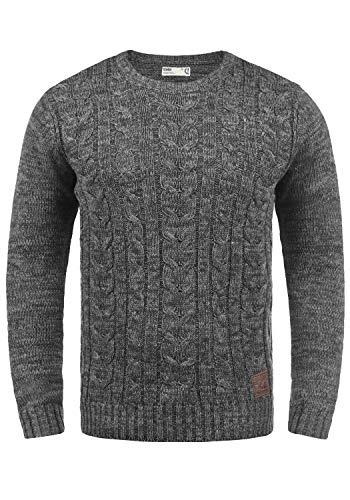 !Solid Philemon Herren Winter Pullover Strickpullover Grobstrick Pullover Zopfstrick mit Rundhalsausschnitt, Größe:L, Farbe:Dark Grey (2890)
