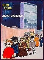 ERZANアンティーク サインアメリカン 看板ニューヨークエアインディアアメリカ合衆国アメリカヴィンテージ旅行広告ポスター20X30cm金属 サイン