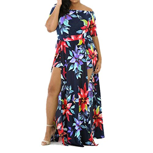 Luca Women Sexy Off Shoulder Short Sleeve Floral Print Casual Playsuit Long Dress (Size:M)