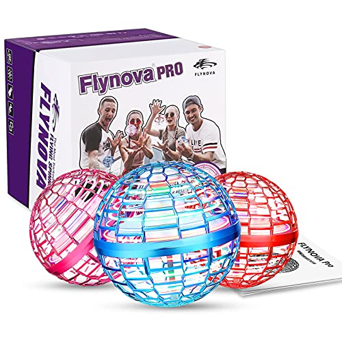 FLYNOVA PRO Flying Orb, Mini Fliegende Ball Drohne eingebaut rgb led dreher 360 ° rotieren ufo, globus form magische controller magische fliegende spielzeug für kinder (blau)
