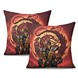 Unicorns Farting Durable Unique Pillowcovers Mortal-Kombat-Scorpion- Printed Couch Pillow Covers for Car Kid's Room 2PCS