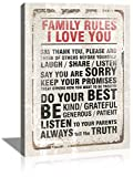 Laiwang Inspirational Canvas Wall Art Motivational Family Rules Poster Vintage Artwork on Canvas Prints for Living Room Bedroom Kitchen Rustic Framed Art for Home Wall Decor