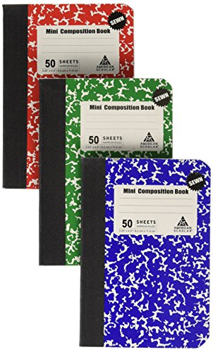 Mini Composition Book, Note Pad, 3 Pack in 3 different color Red, Green & Blue