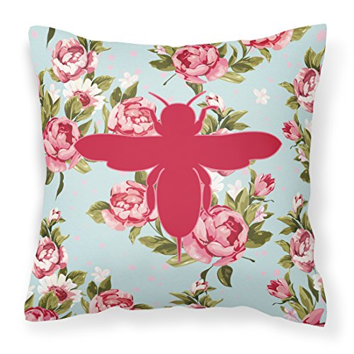 Price comparison product image Caroline's Treasures BB1057-RS-BU-PW1818 Bee Shabby Chic Blue Roses Canvas Fabric Decorative Pillow BB1057,  18H x18W,  Multicolor