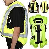 ZZJCY Chaleco Airbag Motocicleta Hombres Mujeres, Bolsa Aire Ropa Protectora Respirable Material Lona 300D, con Placa Protección Parte Posterior, Resistente Desgaste, Absorbente Sudor Verano,XXL