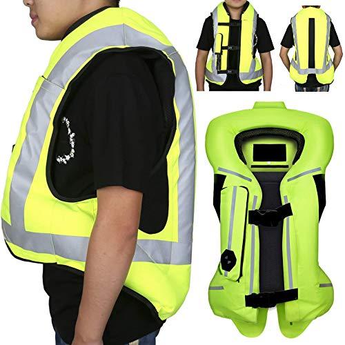 ZZJCY Chaleco Airbag Motocicleta Hombres Mujeres, Bolsa Aire Ropa Protectora Respirable Material Lona 300D, con Placa Protección Parte Posterior, Resistente Desgaste, Absorbente Sudor Verano,M