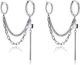Punk Drop Dangle Hoop Earrings Stainless Steel Double Tassel Chain Ear to Cartilage Huggie Clip Earrings