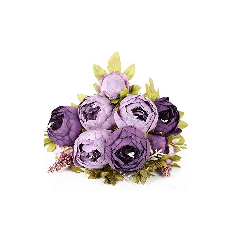 silk flower arrangements luyue vintage artificial peony silk flowers bouquet home wedding decoration (bicolor dusty lavender)