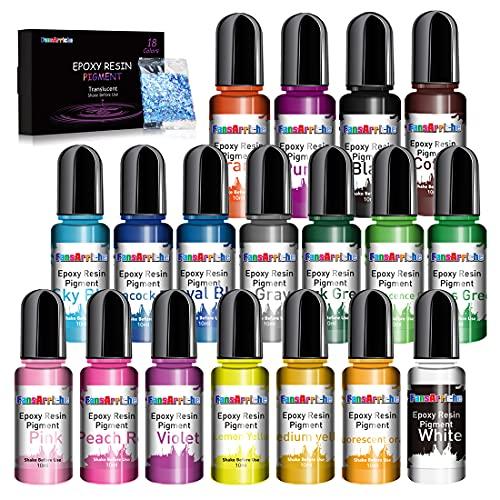 Pigmento per Resina Epossidica - 10ml X 18 Colors Liquido Colori per Resina Epossidica Colorante Resina Trasparente Concentrata pigmenti per Gioielli Fai da Te, Artigianato Artistico