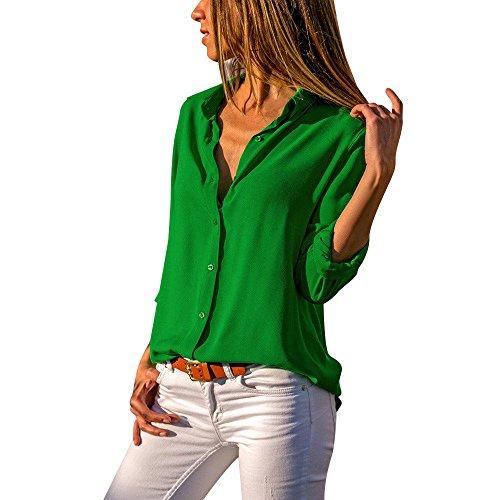 AMUSTER Damen Elegante Bluse Chiffon Lange Ärmel Oberteile Hemd Top Blusenshirt Damen Frauen Chiffon Langarm OL Hemd lässig Lose Tops Bluse (L, Grün)