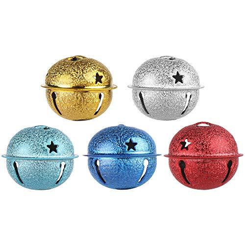 Xuntung 5pcs Zubehör Eisen Party Dekor SCHWASSEL Handwerk Lose Metallperlen Weihnachtsbaum Glocke Weihnachten hängende Anhänger Jingle Bells(50mm,multicolor)