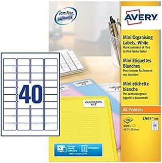 Avery L7654-100 Self-Adhesive Mini Organising/Return Address Labels, 40 Labels Per A4 Sheet