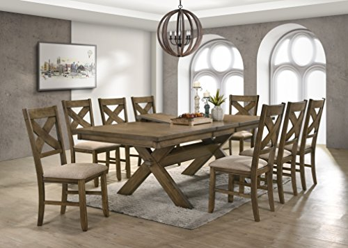 Roundhill Furniture Raven Wood Dining Set: Butterfly Leaf Table, Eight Chairs, Glazed Pine Brown