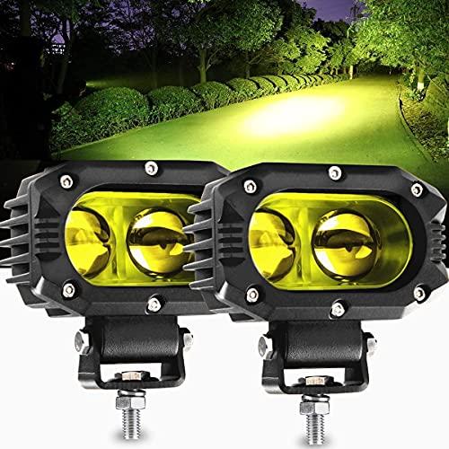 LED Arbeitsscheinwerfer 12V 24V gelb Nebelscheinwerfer 48Wx2 4 zoll Flutlicht LED Offroad Zusatzscheinwerfer Arbeitslicht Worklight IP67 für Trecker KFZ Bagger SUV, UTV, ATV, CO LIGHT