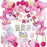 Unicornio Fiesta Decoración Unicornio cumpleaños Supplies,47 Piezas cumpleaños con 1 Banner,2 Enorme Unicornio Globos,30 Globos,6 Flores de Papel,Girls Boy Kids Fiesta de cumpleaños
