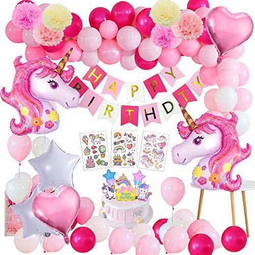 Yansion Unicornio Fiesta Decoración Unicornio cumpleaños Supplies,39 Piezas cumpleaños con 1 Banner,2 Enorme Unicornio Globos,30 Globos,6 Flores de Papel,Girls Boy Kids Fiesta de cumpleaños