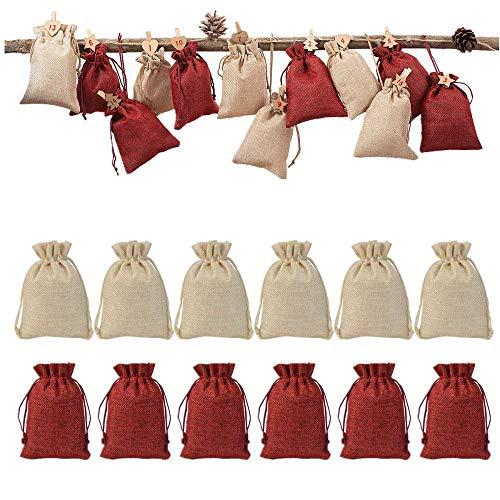 Voarge - Lote de 24 Bolsas de Yute para Calendario de Adviento, artesanía, Bolsa de Yute, Bolsa de Tela, 12 bolsitas de Color Rojo Vino, Bolsa de Regalo con cordón – 10 x 14 cm