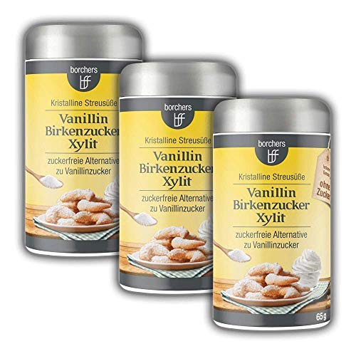 3 x borchers Vanillin Birkenzucker | Zuckerfreie Alternative zu Vanillinzucker | 65 g
