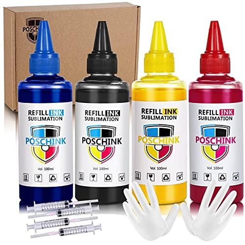 Poschink Sublimation Ink Refill Starter Kit for Workforce WF-7710 7720 7110 7210 Ecotank ET-2720 2760 4700 4760 15000 Artisan 1430 C88 C88+ Inkjet Convertion Sublimation Printers, BK/C/M/Y, 100ml 4