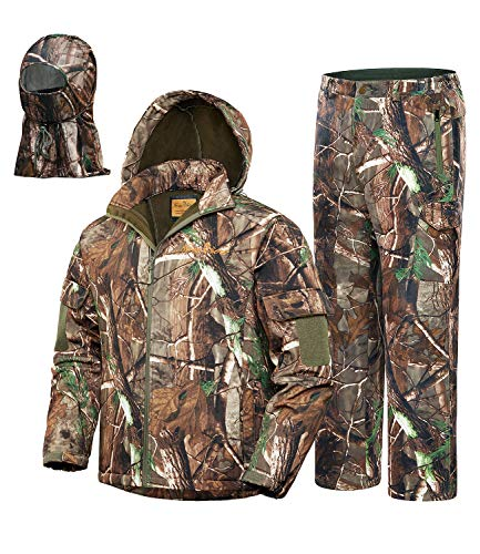 NEW VIEW 2020 Upgrade Hunting Clothes for Men,Silent Water Resistant Hunting Suits,Camo Hunting Camouflage Hooded Jacket,Hunting Pants (XXL, Upgrade Camo Tree)
