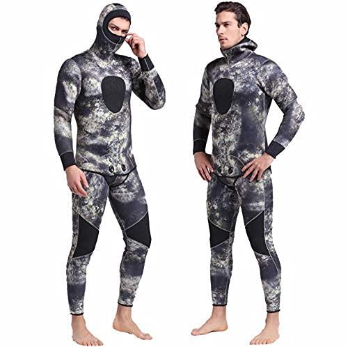 XBSXP Hombre Traje de Neopreno de 5 mm, Dos Piezas Traje de Surf frío Grueso para Hombre Natación en Agua al Aire Libre/Triatlón Buceo con escafandra Traje de Buceo Sumergible Traje de