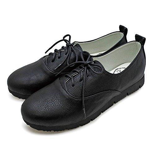 [ジョイウォーカー プラス] レースアップ シューズ レディース オックスフォード シンプル 紐靴 ひも靴 軽量 歩きやすい コンフォート BO105 23.5cm BLACK